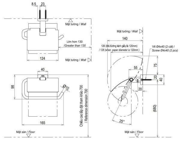 bản vẽ hộp giấy vệ sinh TOTO YH408RV