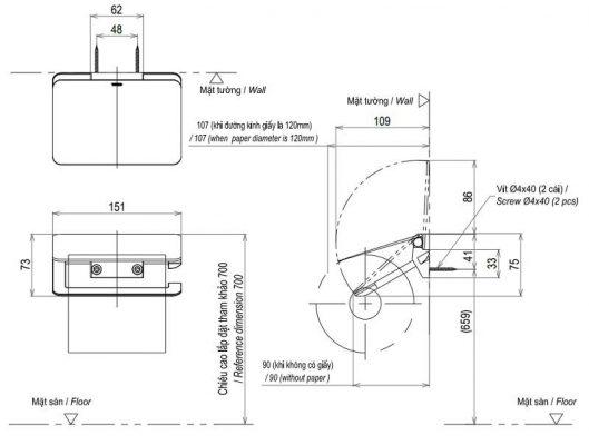 bản vẽ hộp giấy vệ sinh TOTO YH903V