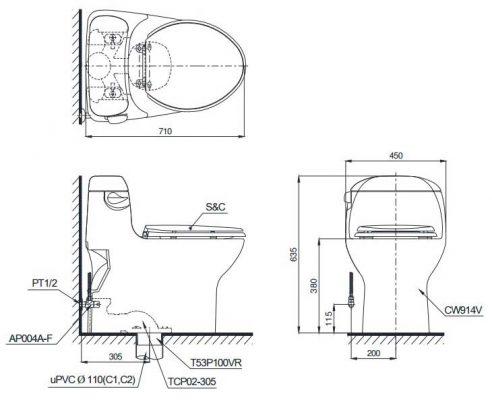 bản vẽ kỹ thuật toto ms914t2