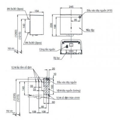 bản vẽ máy sấy tay TOTO TYC122W