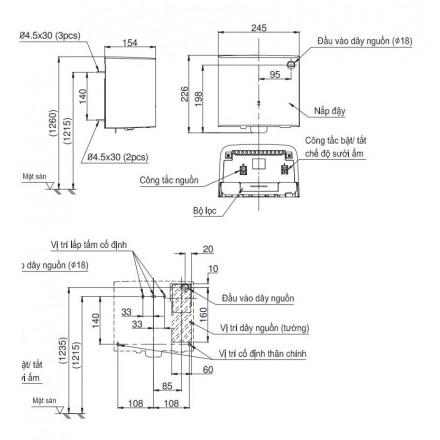 bản vẽ máy sấy tay TOTO TYC322M