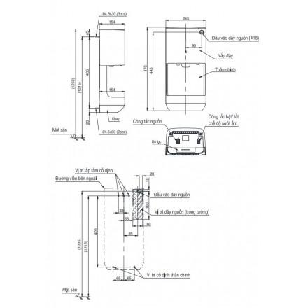 bản vẽ máy sấy tay TOTO TYC322W