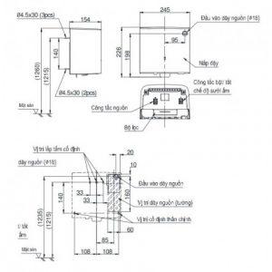 bản vẽ máy sấy tay TOTO TYC322WF
