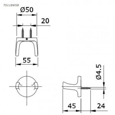 bản vẽ móc treo áo đôi TOTO TS118WSB