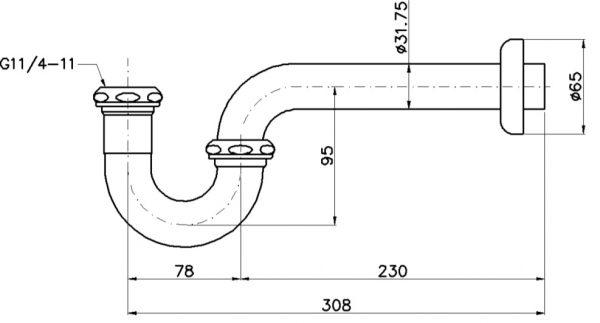 bản vẽ ống thải chữ P TOTO TVLF401