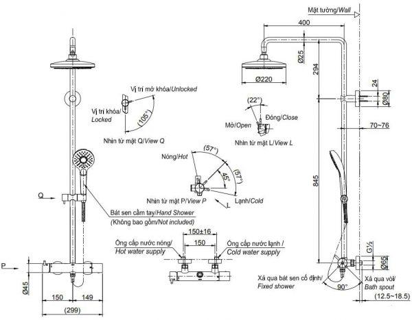 bản vẽ sen cây TOTO TBW01303B nóng lạnh 2 chế độ massage