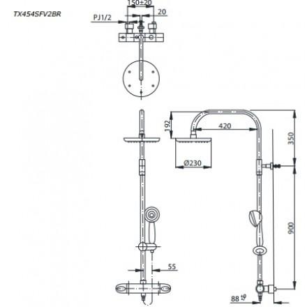 bản vẽ sen cây TOTO TX454SFV2BRS nhiệt độ bát sen massage 3 chế độ