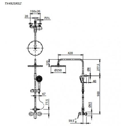 bản vẽ sen cây TOTO TX492SRS nóng lạnh bát sen massage 5 chế độ