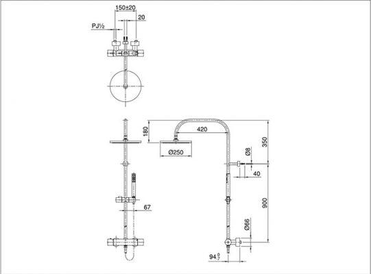 bản vẽ sen cây nhiệt độ TOTO TXX454SESV2BRR bát sen mạ
