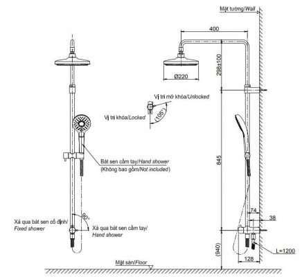 bản vẽ sen cây tắm TOTO TBW01002B 2 chế độ massage