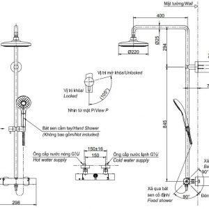 bản vẽ sen cây tắm TOTO TBW01301B nóng lạnh kèm vòi xả bồn