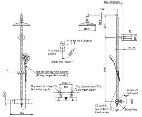 bản vẽ sen cây tắm TOTO TBW01401B nhiệt độ bát sen tròn