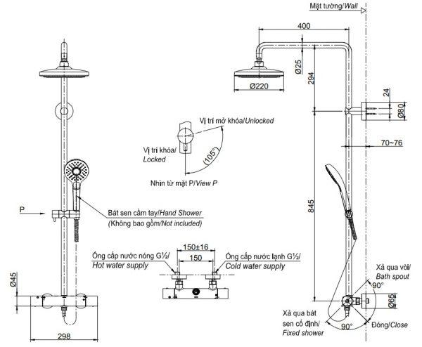 bản vẽ sen cây tắm nhiệt độ bát sen tròn TOTO TBW01402B