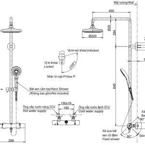 bản vẽ sen cây tắm nhiệt độ bát sen tròn 2 chế độ TOTO TBW01404B