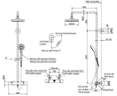 bản vẽ sen cây tắm nhiệt độ bát sen tròn 2 chế độ TOTO TBW01404