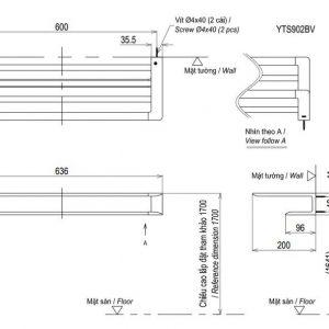 bản vẽ thanh vắt khăn 2 tầng TOTO YTS902BV