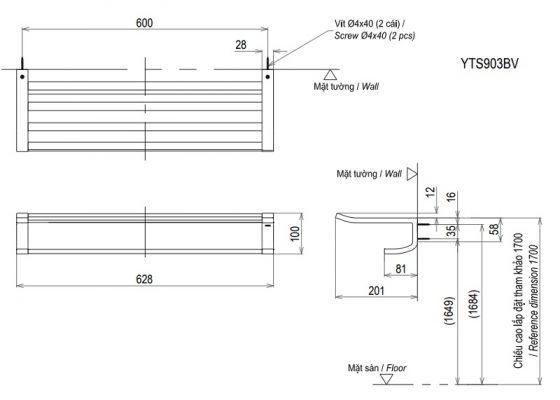 bản vẽ thanh vắt khăn TOTO YTS903BV 2 tầng