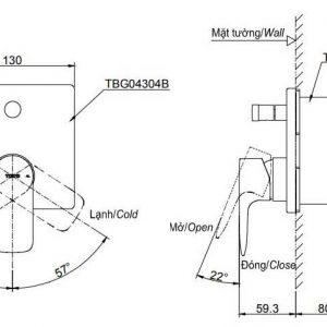 bản vẽ van gật gù nóng lạnh TOTO TBG04304B/TBN01001B kèm nút chuyển hướng