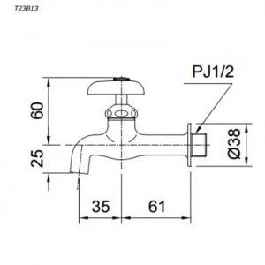bản vẽ vòi chậu rửa mặt TOTO T23B13 nước lạnh gắn tường