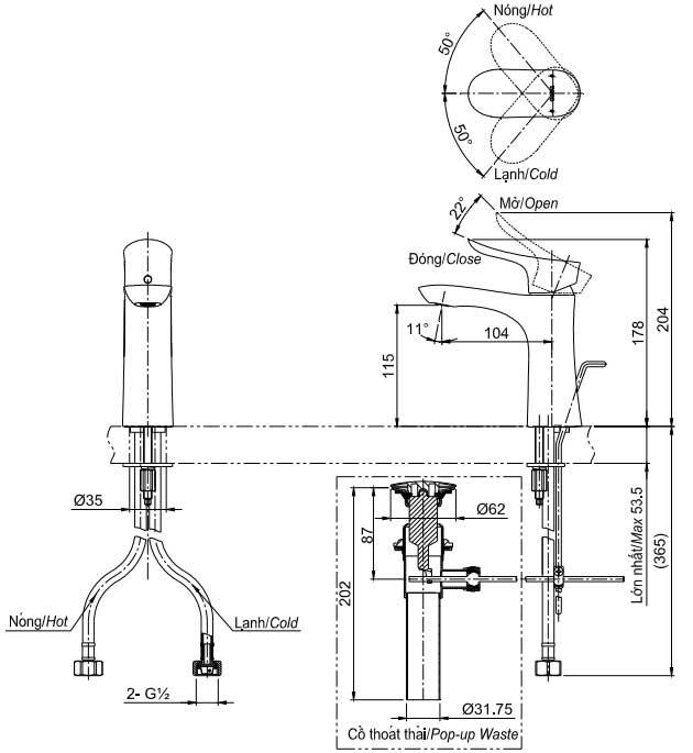 bản vẽ vòi chậu rửa mặt TOTO TLG01301V nóng lạnh