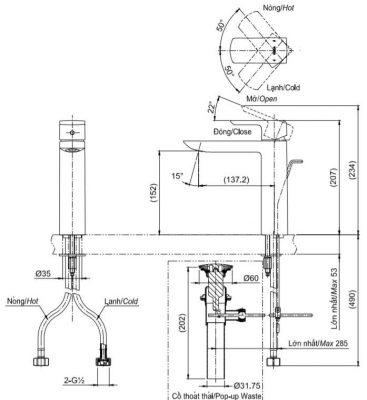 bản vẽ vòi chậu rửa mặt TOTO TLG02304V nóng lạnh