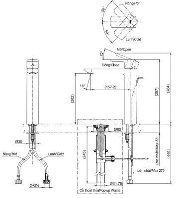 bản vẽ vòi chậu rửa mặt TOTO TLG02307V nóng lạnh