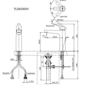 bản vẽ vòi chậu rửa mặt TOTO TLG03303V nóng lạnh