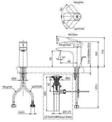 bản vẽ vòi chậu rửa mặt TOTO TLG04301V nóng lạnh