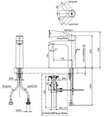 bản vẽ vòi chậu rửa mặt TOTO TLG04304V nóng lạnh