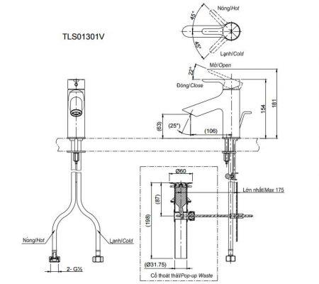 bản vẽ vòi chậu rửa mặt TOTO TLS01301V nóng lạnh
