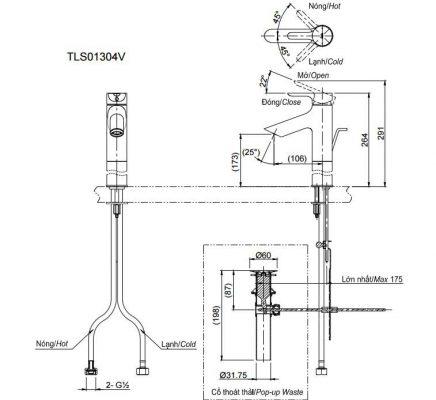 bản vẽ vòi chậu rửa mặt TOTO TLS01304V nóng lạnh