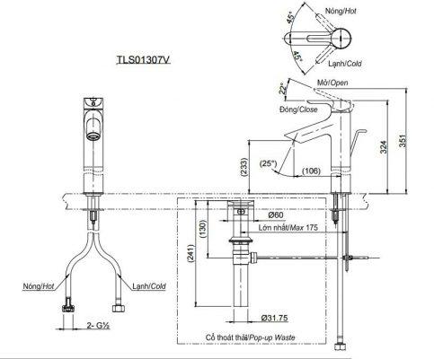 bản vẽ vòi chậu rửa mặt TOTO TLS01307V nóng lạnh