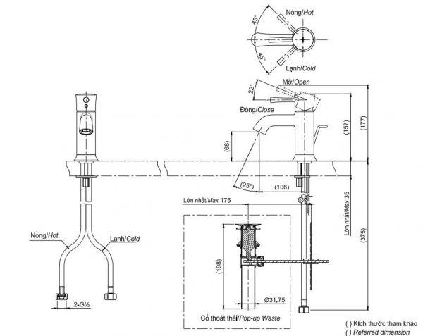 bản vẽ vòi chậu rửa mặt TOTO TLS02301V nóng lạnh