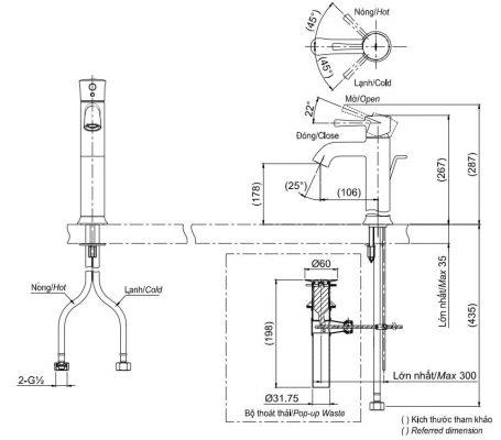 bản vẽ vòi chậu rửa mặt TOTO TLS02303V nóng lạnh