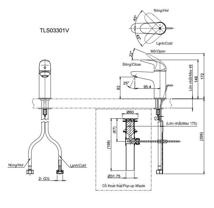 bản vẽ vòi chậu rửa mặt TOTO TLS03301V nóng lạnh