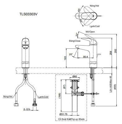 bản vẽ vòi chậu rửa mặt TOTO TLS03303V nóng lạnh