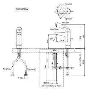 bản vẽ vòi chậu rửa mặt TOTO TLS03305V nóng lạnh