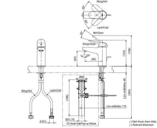 bản vẽ vòi chậu rửa mặt TOTO TLS04301V nóng lạnh