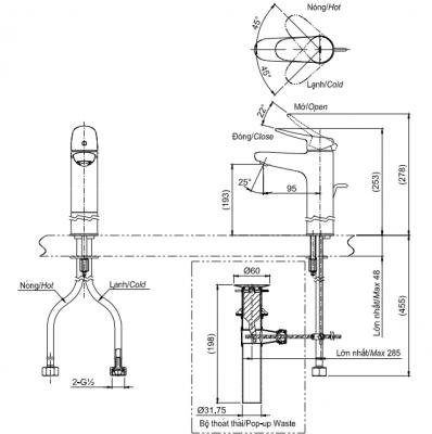 bản vẽ vòi chậu rửa mặt TOTO TLS04304V nóng lạnh