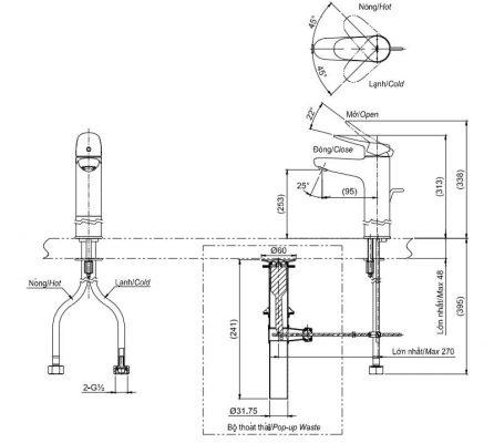 bản vẽ vòi chậu rửa mặt TOTO TLS04306V nóng lạnh