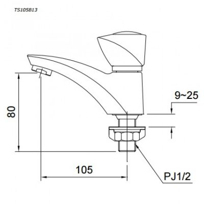 bản vẽ vòi chậu rửa mặt TOTO TS105B13 nước lạnh