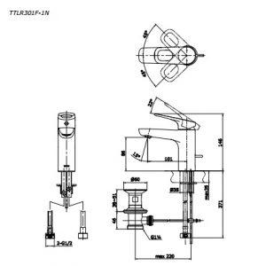 bản vẽ vòi chậu rửa mặt TOTO TTLR301F-1RR nóng lạnh