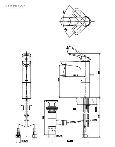bản vẽ vòi chậu rửa mặt TOTO TTLR301FV-1 nóng lạnh