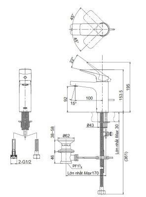 bản vẽ vòi chậu rửa mặt TOTO TTLR302F-1N nóng lạnh