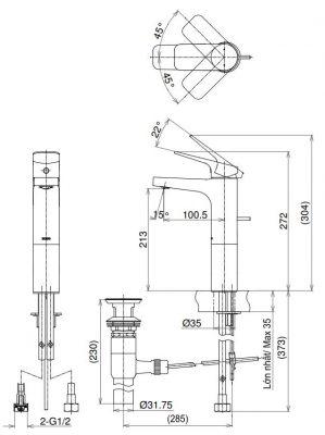 bản vẽ vòi chậu rửa mặt TOTO TTLR302FV-1 nóng lạnh