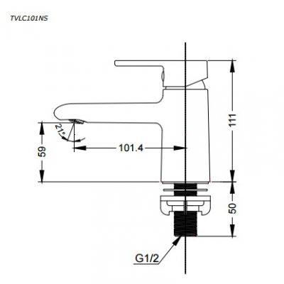bản vẽ vòi chậu rửa mặt TOTO TVLC101NSR nước lạnh