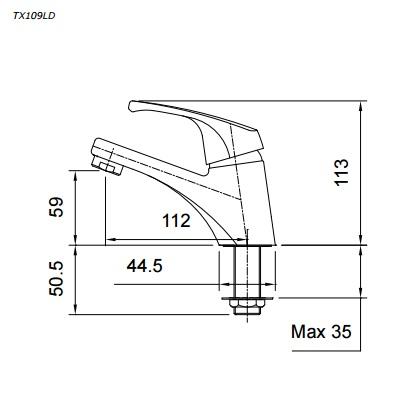 bản vẽ vòi chậu rửa mặt TOTO TX109LD nước lạnh