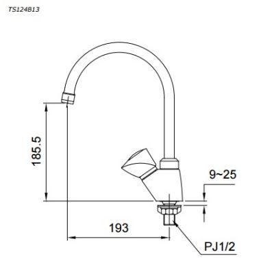 bản vẽ vòi nước chậu rửa bát TOTO TS124B13 nước lạnh