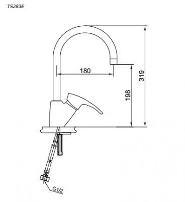 bản vẽ vòi nước chậu rửa bát TOTO TS283E nóng lạnh