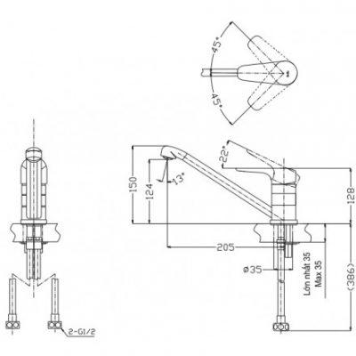 bản vẽ vòi nước chậu rửa bát TOTO TTKC301F nóng lạnh